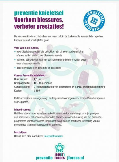 Cursus Preventie Knieletsel 3 oktober